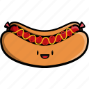 bread, fast food, food, hot dog, mustard, sausage, tomato icon