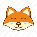 animal, cute, emoji, fox, pleased