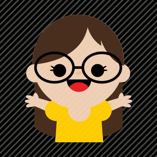 beauty, child, cute, girl, glasses, kids, sweet icon
