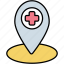 location, hospital, medical, map