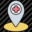 location, hospital, medical, map
