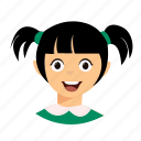 kid, pigtails, smile icon