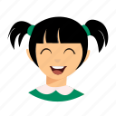 happy, kid, pigtails icon