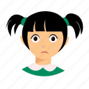 kid, pigtails, sad icon