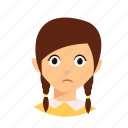 braid, hair, kid, sad icon