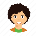 curly, hair, kid, smile icon