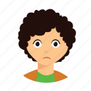 curly, hair, kid, sad icon