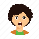 curly, hair, kid, shock icon