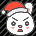 angry, bunny, christmas, emoji, hat, rabbit, xmas icon
