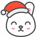bunny, christmas, emoji, happy, hat, rabbit, xmas icon