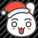 bunny, christmas, emoji, hat, rabbit, surprise, xmas