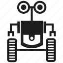 android, cyborg, humanoid, mascot, robot, robotic, wheel icon