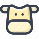 animal, colored, cow, round, zoo