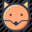 animal, colored, fox, round, zoo