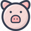 animal, colored, pig, round, zoo