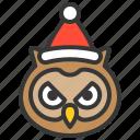 animal, avatar, christmas, owl, santa, xmas icon