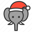 christmas, animal, xmas, avatar, elephant, africa icon
