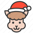 alpaca, animal, avatar, christmas, xmas icon