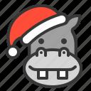 animal, avatar, christmas, hippo, santa hat, xmas