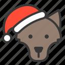 animal, avatar, christmas, santa hat, wolf, xmas