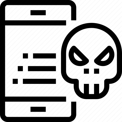 antivirus, mobile, security, skull, smartphone, virus icon