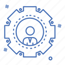 crime, cyber, gear, security icon