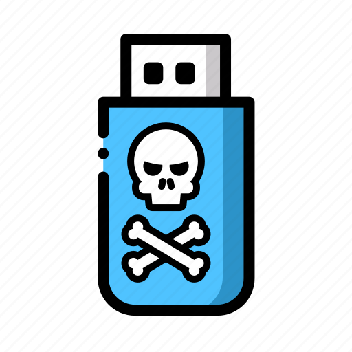 malware, stick, usb, virus icon
