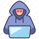 computer, crime, data, hacker, hacking, laptop, thief icon