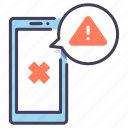 alert, error, mobile, notification, phone, smartphone, warning icon