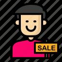 avatar, cashier, male, store icon