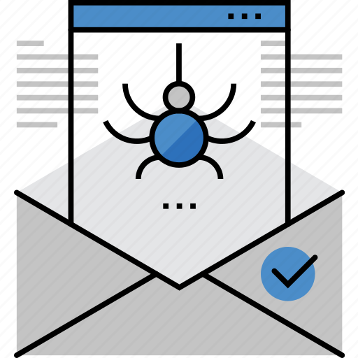 antivirus, detecting, email, infected, letter, mail, virus icon