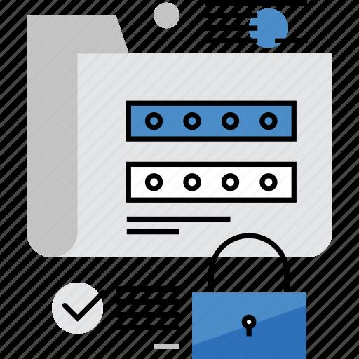 folder, information, locked, login, password, protection, secured icon