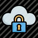 web, cloud, lock, protection, security, hosting, computing