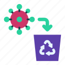 removing, antivirus, delete, recycle bin, virus, removal, cleaning icon