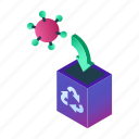 recycle bin, delete, virus, antivirus, cleaning, removing, removal icon
