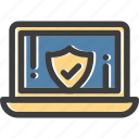 cyber, laptop, protection, security, shield