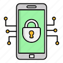cyber security, encryption, mobile, network protection, security, smart, technology icon