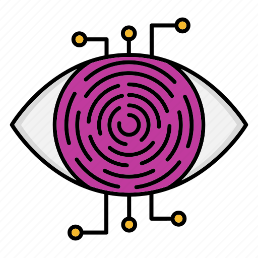 cyber security, encryption, network protection, retina, scanner, smart, technology icon