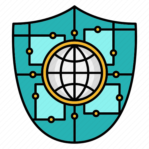 cyber security, encryption, network protection, shield, smart, technology, world icon