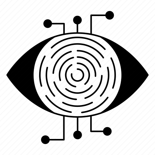 cyber security, encryption, network protection, retina, scanner icon