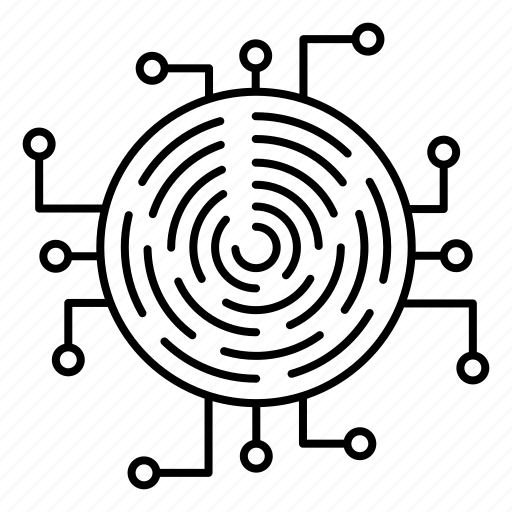 crypto, cyber security, encryption, fingerprint, network protection icon
