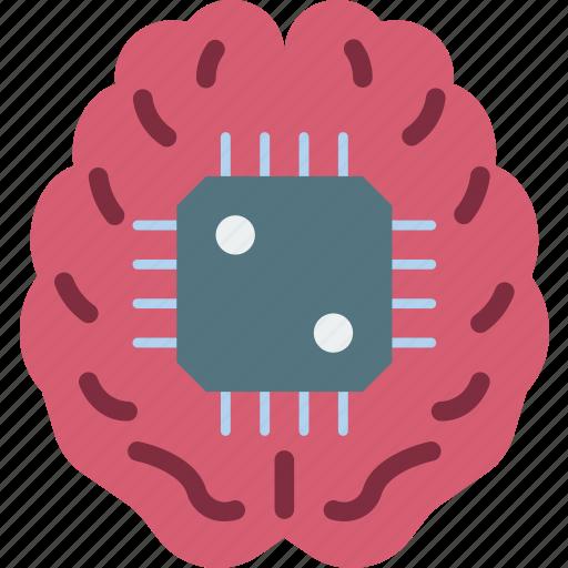 brain, cortex, cybernetics, implant icon