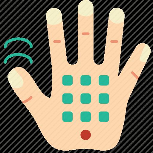 cellular, cybernetics, hand icon