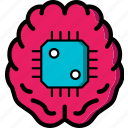 brain, cortex, cybernetics, implant icon