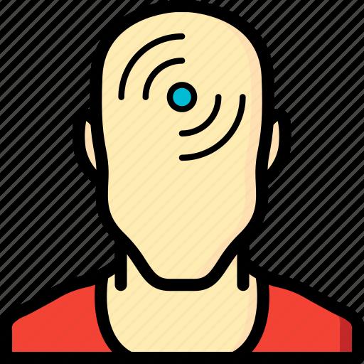 chip, cybernetics, head, rfid icon