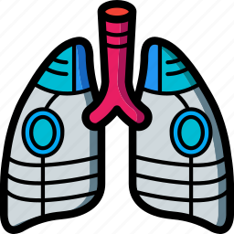 cybernetic, cybernetics, lungs icon