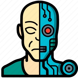 android, cybernetics, partial icon