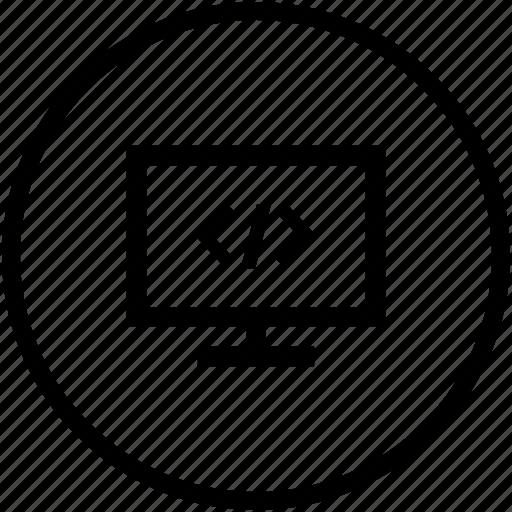code, monitor, program, source icon
