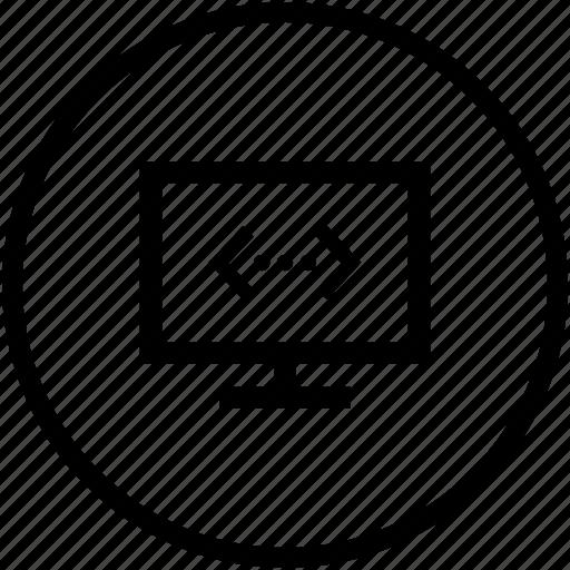 code, monitor, preview, script, source icon