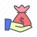 bank, currency, dollar, fund, loan, money icon